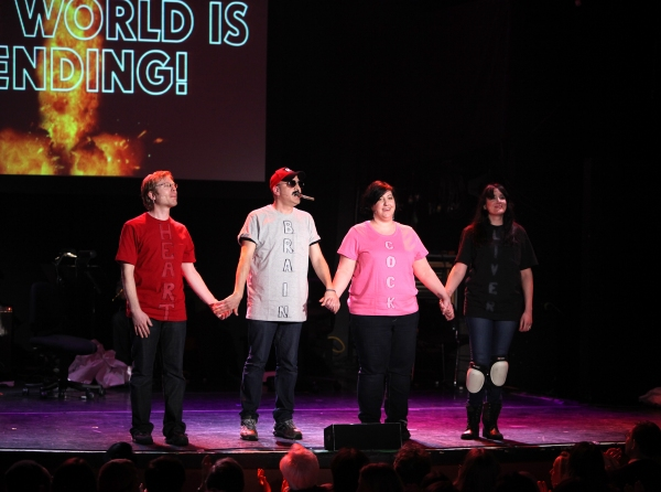 Anthony Rapp, Julian Fleisher, Ashlie Atkinson & Dee Roscioli Performing in 'The World Is Ending' at The 24 Hour Musicals after performance party at the Gramercy Theatre in New York City. at The 24 Hour Musicals - Anthony Rapp in THE WORLD IS ENDING