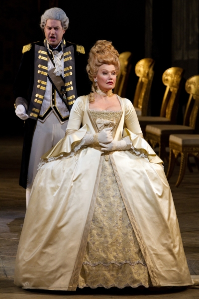 "Peter Mattei as Yeletsky and Karita Mattila as Lisa in Tchaikovsky's ""The Queen of Spades."" Photo: Marty Sohl/Metropolitan Opera  Taken at the rehearsal on March 3, 2011 at the Metropolitan Opera in New York City."