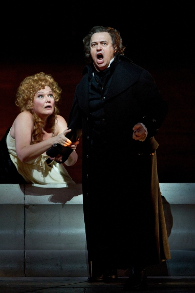 "Karita Mattila as Lisa and Vladimir Galouzine as Hermann in Tchaikovsky's ""The Queen of Spades."" Photo: Marty Sohl/Metropolitan Opera  Taken at the rehearsal on March 4, 2011 at the Metropolitan Opera in New York City."