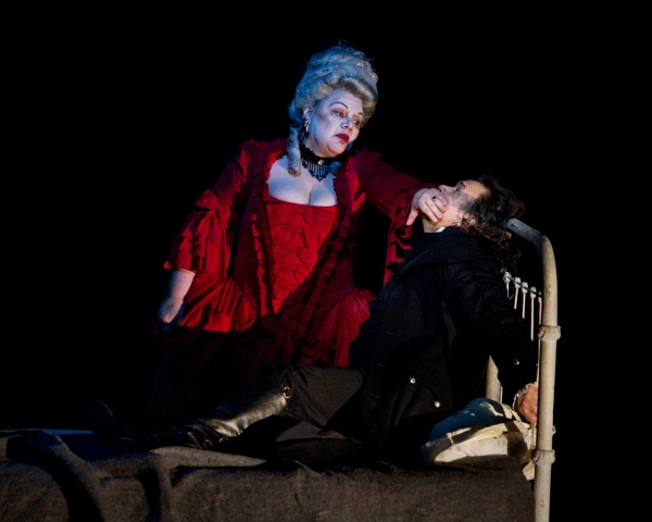 "Dolora Zajick as the Countess and Vladimir Galouzine as Hermann in Tchaikovsky's ""The Queen of Spades."" Photo: Marty Sohl/Metropolitan Opera  Taken at the rehearsal on March 4, 2011 at the Metropolitan Opera in New York City."