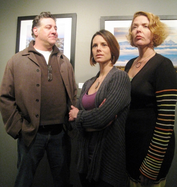 Cast of Fiction L-R: Tom Borrillo, Kate Avallone and Rhonda Brown at NOW PLAYING:  Miners Alley Playhouse's FICTION