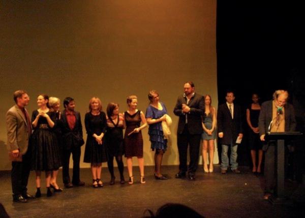 John Perrin Flynn, Matthew Elkins, Deborah Puette, and Rouge Machine Theatre