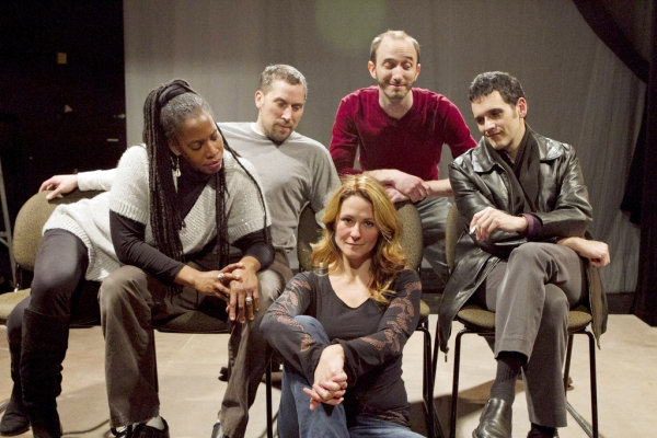 Donna J. Edmonds), Tom (Ryan Artzberger), Jane (Jennifer Johansen), Alan (Scot Greenwell) and Jean-Pierre (Eric J. Olson at Phoenix Theatre's THIS