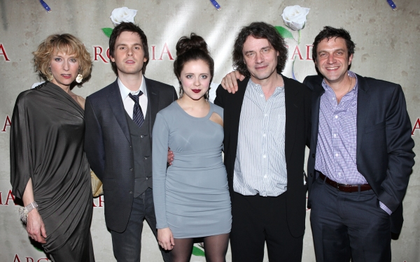 Lia Williams & Tom Riley & Bel Powley & David Leveaux & Raul Esparza attending the Broadway Opening Night After Party for 'Arcadia' at Gotham Hall in New York City.
