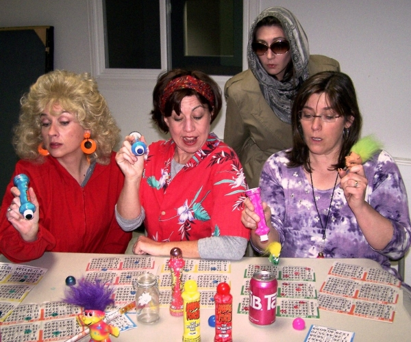 (L-R): Abby Boes (Honey), Melissa Fike (Vern), Christine Sharpe in back (Alison) and Heather Frost (Patsy) at NOW PLAYING:  Woof! Theatre Productions's BINGO: THE WINNING MUSICAL