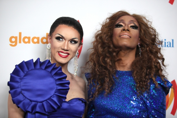 Manila Luzon and Sahara Davenport attending the 22nd Annual GLAAD Media Awards in New York City.