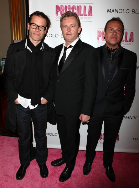 Guy Pierce & Stephen Elliott with guest attending the Broadway opening Night Performance of 'Priscilla Queen of the Desert - The Musical' at the Palace Theatre in New York City.