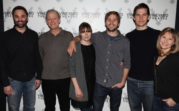 Playwright Christopher Shinn, Mark Blum, Liz Stauber, Michael Stahl-David, Tom Lipinski, and Donna Hanover attending the Meet & Greet the cast & creatives for the Off-Broadway World Premiere of 'PICKED' at the Vineyard Theatre in New York City.