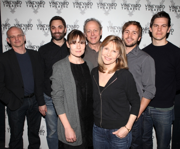 Director Michael Wilson, Playwright Christopher Shinn, Mark Blum, Liz Stauber, Michael Stahl-David, Tom Lipinski, and Donna Hanover attending the Meet & Greet the cast & creatives for the Off-Broadway World Premiere of 'PICKED' at the Vineyard Theatre in
