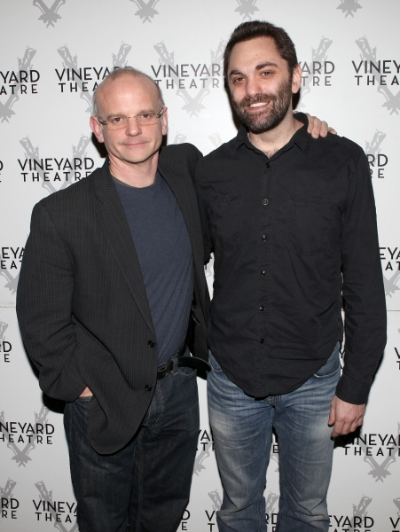 Director Michael Wilson & Playwright Christopher Shinn  attending the Meet & Greet the cast & creatives for the Off-Broadway World Premiere of 'PICKED' at the Vineyard Theatre in New York City.