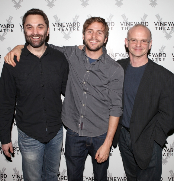 Playwright Christopher Shinn & Michael Stahl-David & Director Michael Wilson attending the Meet & Greet the cast & creatives for the Off-Broadway World Premiere of 'PICKED' at the Vineyard Theatre in New York City.