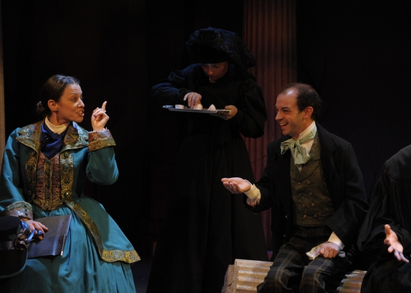 Katherine Michelle Tanner (Margaret Fuller) , Allison DeCaro (Lydian Emerson), and Brandon Roberts (Thoreau). Photo by Tony Firriolo. http://www.orlanodshakes.org