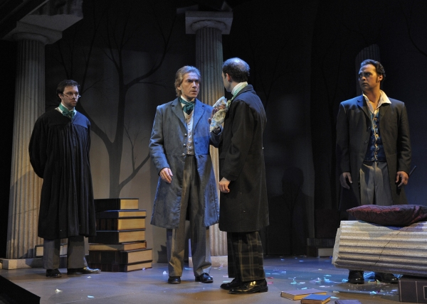 Trent Fucci (Brownson), Eric Zivot (Emerson), Brandon Roberst (Thoreau), and Walter Kmiec (Hawthorne). Photo by Tony Firriolo.   http://www.orlandoshakes.org