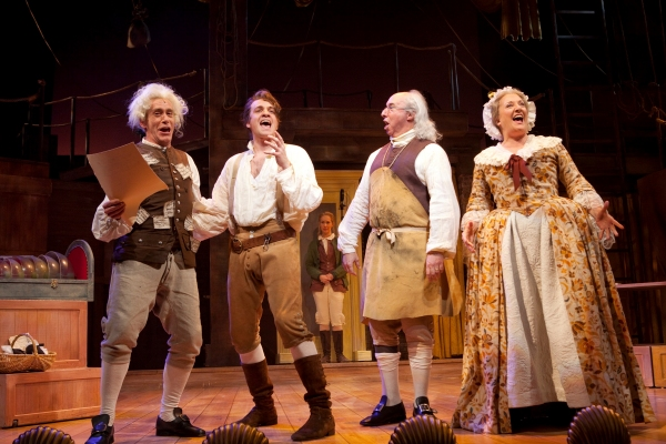 Bobby Smith as Thomas Jefferson, Geoff Packard as Liberty Smith, Christopher Bloch as Benjamin Franklin and Donna Migliaccio as Betsy Ross at Ford Theatre's LIBERTY SMITH