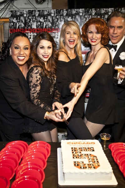 Roz Ryan, Bianca Marroquin, Christie Brinkley, Leigh Zimmerman and Jeff McCarthy at CHICAGO Becomes 5th Longest Running Broadway Show!