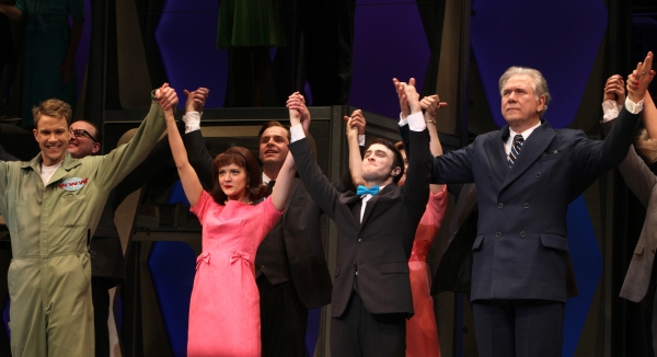 Michael Park, Christopher J. Hanke, Rose Hemingway, Daniel Radcliffe, John Larroquette during the Opening Night Performance Curtain Call for  'How To Succeed In Business...' in New York City.