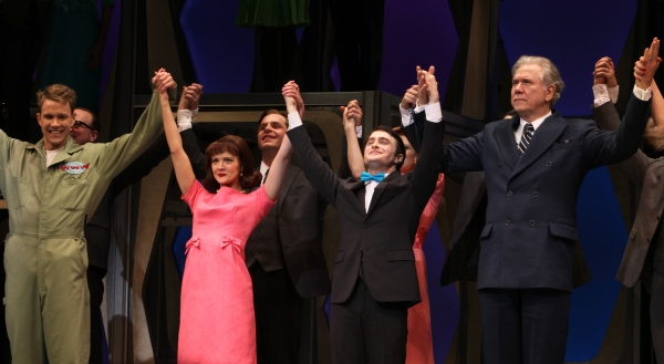 Christopher J. Hanke, Rose Hemingway, Daniel Radcliffe, John Larroquette  during the Opening Night Performance Curtain Call for  'How To Succeed In Business...' in New York City.