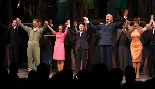 Michael Park, Christopher J. Hanke, Rose Hemingway, Daniel Radcliffe, John Larroquette & Tammy Blanchard during the Opening Night Performance Curtain Call for  'How To Succeed In Business...' in New York City.