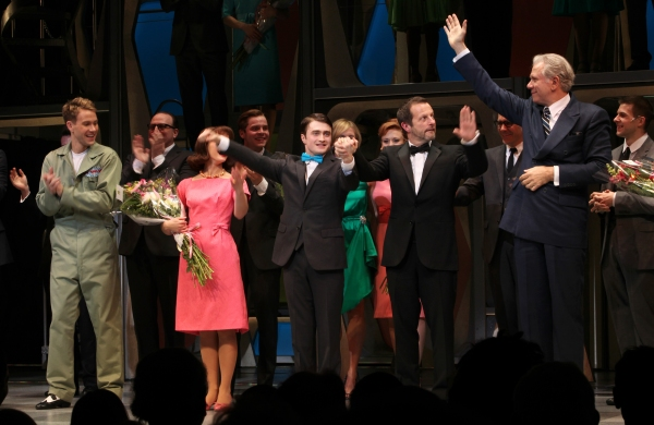 Christopher J. Hanke, Rose Hemingway, Daniel Radcliffe, director Rob Ashford & John Larroquette during the Opening Night Performance Curtain Call for  'How To Succeed In Business...' in New York City.