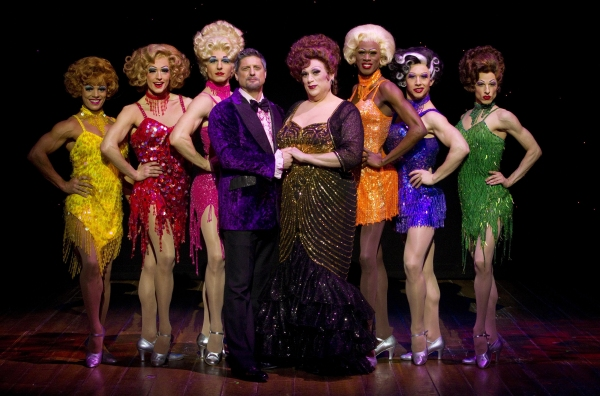Christopher Sieber and Harvey Fierstein with Yurel Echezarreta, Logan Keslar, Karl Warden, Terry Lavell, Matt Anctil and Sean Patrick Doyle at First Look at Harvey Fierstein and Christopher Sieber in LA CAGE AUX FOLLES!