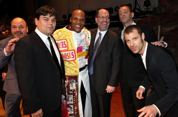 Michael James Scott (Recipient) with Casey Nicholaw, Robert Lopez, Scott Rudin, Trey Parker & Matt Stone attending the Broadway Opening Night Gypsy Robe for 'The Book Of Mormon' and the Gypsy Robe recipient Michael James Scott at The Eugene O'Neill Theatr