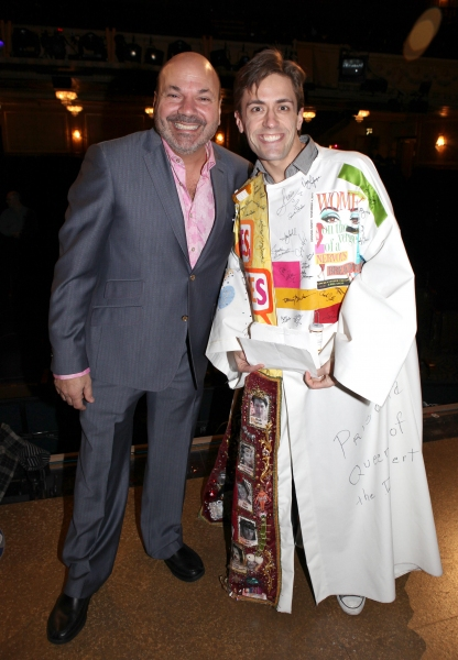 Eric Sciotto (Recipient for 'Priscilla') with director Casey Nicholaw attending the Broadway Opening Night Gypsy Robe for 'The Book Of Mormon' and the Gypsy Robe recipient Michael James Scott at The Eugene O'Neill Theatre in New York City.