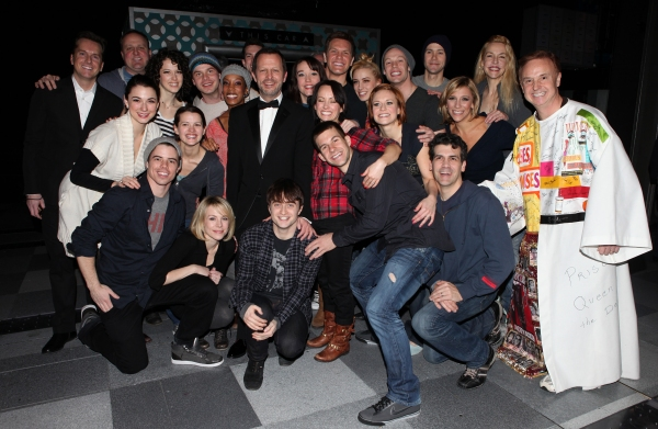 Cleve Asbury (Recipient), director Rob Ashford, John Larroquette & Daniel Radcliffe, Christopher J. Hanke with the Ensemble Cast & Crew attending the Broadway Opening Night Gypsy Robe Ceremony for 'How to Succeed in Business Without Really Trying