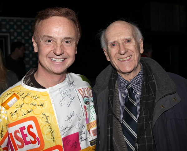 Cleve Asbury (Recipient) with Richard E. Korthaze (Gypsy Robe Recipient from the Original 'How to Succeed') attending the Broadway Opening Night Gypsy Robe Ceremony for Recipient Cleve Asbury in 'How to Succeed in Business without Really Trying' at the Al