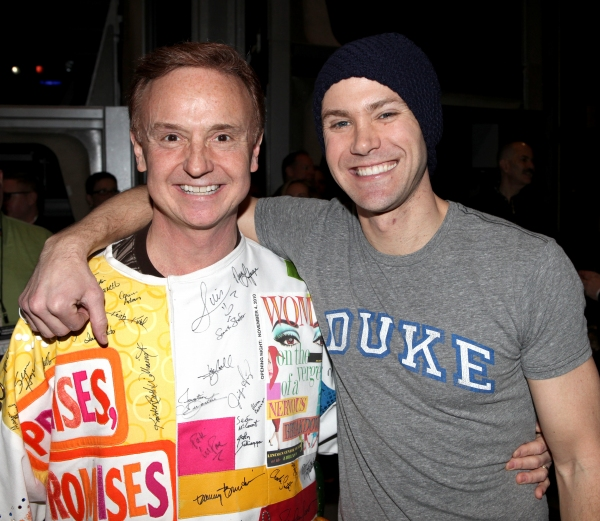 Cleve Asbury (Recipient), Christopher J. Hanke attending the Broadway Opening Night Gypsy Robe Ceremony for Recipient Cleve Asbury in 'How to Succeed in Business without Really Trying' at the Al Hirschfeld Theatre in New York City.
