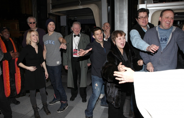 Cleve Asbury (Recipient), Mary Faber, John Larroquette, Christopher J. Hanke, Harvey Evans, Charlie Williams, Kevin Covert with Cast Ensemble & Crew attending the Broadway Opening Night Gypsy Robe Ceremony for Recipient Cleve Asbury in 'How to Succeed in