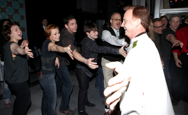 Cleve Asbury (Recipient), Erica Mansfield, Barrett Martin, Daniel Radcliffe with Cast Ensemble & Crew attending the Broadway Opening Night Gypsy Robe Ceremony for Recipient Cleve Asbury in 'How to Succeed in Business without Really Trying' at the Al Hirsc