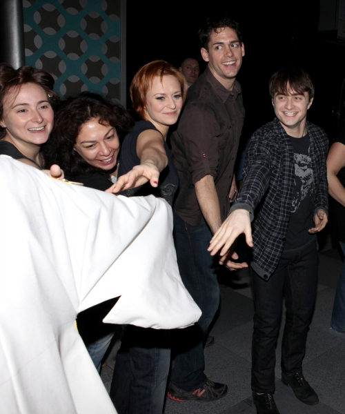 Cleve Asbury (Recipient), Erica Mansfield, Barrett Martin, Daniel Radcliffe with Cast Ensemble & Crew attending the Broadway Opening Night Gypsy Robe Ceremony for Recipient Cleve Asbury in 'How to Succeed in Business without Really Trying'