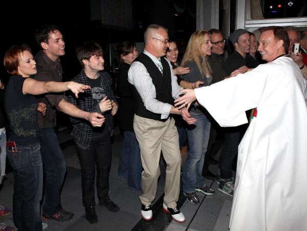 Cleve Asbury (Recipient), Erica Mansfield, Barrett Martin, Daniel Radcliffe with Cast Photo
