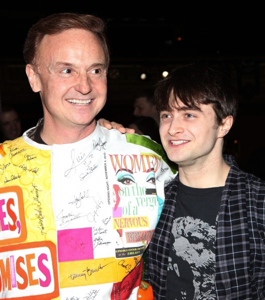Cleve Asbury (Recipient) & Daniel Radcliffe attending the Broadway Opening Night Gypsy Robe Ceremony for Recipient Cleve Asbury in 'How to Succeed in Business without Really Trying' at the Al Hirschfeld Theatre in New York City.