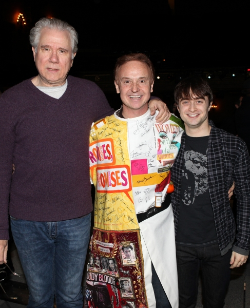 Cleve Asbury (Recipient), John Larroquette & Daniel Radcliffe attending the Broadway Opening Night Gypsy Robe Ceremony for Recipient Cleve Asbury in 'How to Succeed in Business without Really Trying' at the Al Hirschfeld Theatre in New York City.