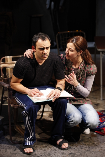Omid Abtahi and Tala Ashe in Urge for Going, written by Mona Mansour and directed by Hal Brooks, a Public LAB production running through April 17 at The Public Theater. Photo credit: Carol Rosegg