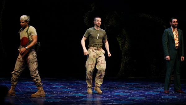 Glenn Davis, Brad Fleischer & Hrach Titizian during the Broadway Opening Night Curtain Call for 'Bengal Tiger at the Baghdad Zoo' at the Richard Rodgers Theatre in New York City