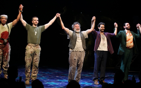 Glenn Davis, Brad Fleischer, Robin Willams, Arian Moayed & Hrach Titizian during the Broadway Opening Night Curtain Call for 'Bengal Tiger at the Baghdad Zoo' at the Richard Rodgers Theatre in New York City
