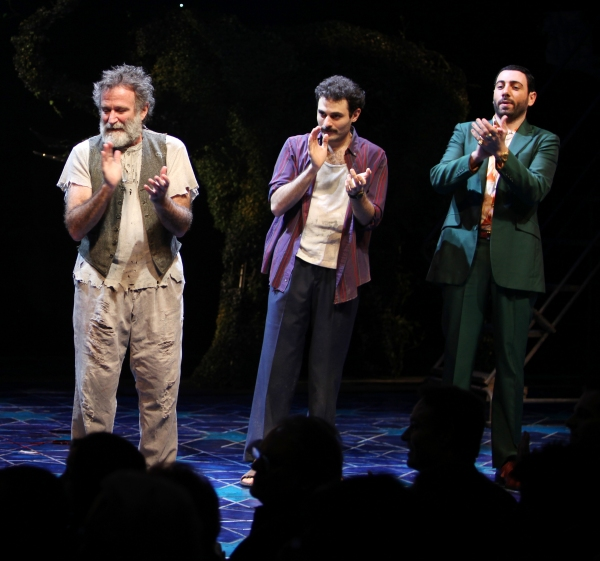 Robin Willams, Arian Moayed & Hrach Titizian during the Broadway Opening Night Curtain Call for 'Bengal Tiger at the Baghdad Zoo' at the Richard Rodgers Theatre in New York City