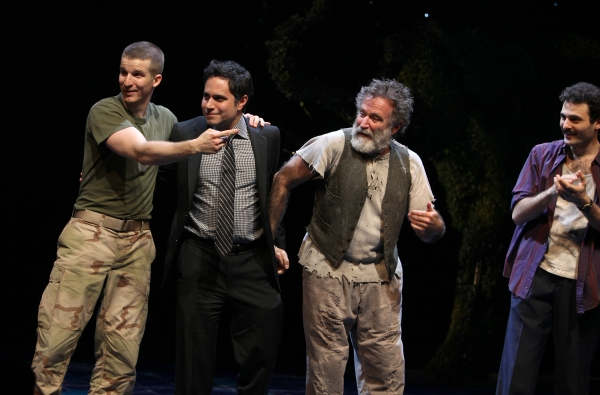 Brad Fleischer, playwright Rajiv Joseph, Robin Willams & Arian Moayed during the Broadway Opening Night Curtain Call for 'Bengal Tiger at the Baghdad Zoo' at the Richard Rodgers Theatre in New York City