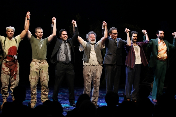 Glenn Davis, Brad Fleischer, playwright Rajiv Joseph, Robin Willams, director Moises Kaufman, Arian Moayed & Hrach Titizian during the Broadway Opening Night Curtain Call for 'Bengal Tiger at the Baghdad Zoo' at the Richard Rodgers Theatre in New York Cit