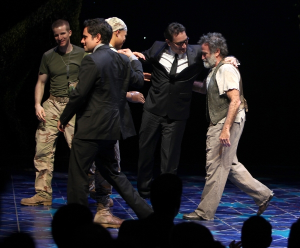 Rajiv Joseph, Brad Fleischer, Glenn Davis, Robin Willams & Moises Kaufman during the Broadway Opening Night Curtain Call for 'Bengal Tiger at the Baghdad Zoo' at the Richard Rodgers Theatre in New York City