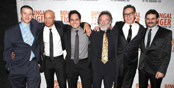 Brad Fleischer, Glenn Davis, Rajiv Joseph, Robin Williams, Moises Kaufman & Arian Moayed attending the Broadway Opening Night After Party for 'Bengal Tiger at the Baghdad Zoo' at espace in New York City at BENGAL TIGER AT THE BAGHDAD ZOO - After Party!