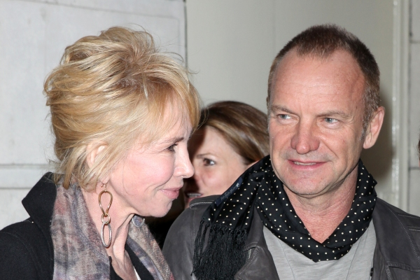 Trudie Styler, Sting & Jeffrey Seller attending the Broadway Opening Night Performance of 'Bengal Tiger At The Baghdad Zoo' at the Richard Rodgers Theatre in New York City. at BENGAL TIGER AT THE BAGHDAD ZOO Starry Theatre Arrivals