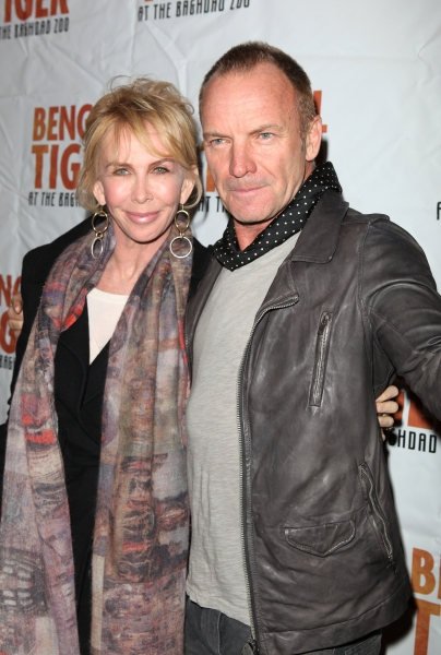 Trudie Styler & Sting attending the Broadway Opening Night Performance of 'Bengal Tiger At The Baghdad Zoo' at the Richard Rodgers Theatre in New York City. at BENGAL TIGER AT THE BAGHDAD ZOO Starry Theatre Arrivals
