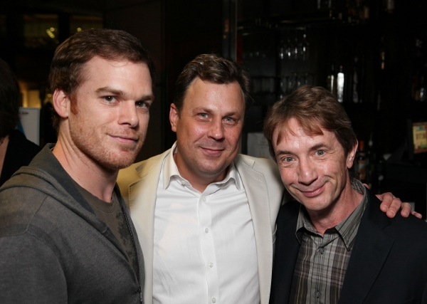 LOS ANGELES, CA - APRIL 3: (L-R) Michael C. Hall, cast member Brooks Ashmanskas and actor Martin Short pose during the party for the opening night performance of 'Burn This' at Center Theatre Group's Mark Taper Forum on April 3, 2011 in Los Angeles, at Hall, Short, Garber & More at CTG's BURN THIS Opening Night!