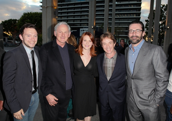 """LOS ANGELES, CA - APRIL 3: (L-R) Actors Nate Corddry, Victor Garber, Holley Fain, Martin Short and Jon Hamm pose during the arrivals for the opening night performance of """"Burn This"""" at Center Theatre Group's Mark Taper Forum on April 3, 2011 in Los Angele"""