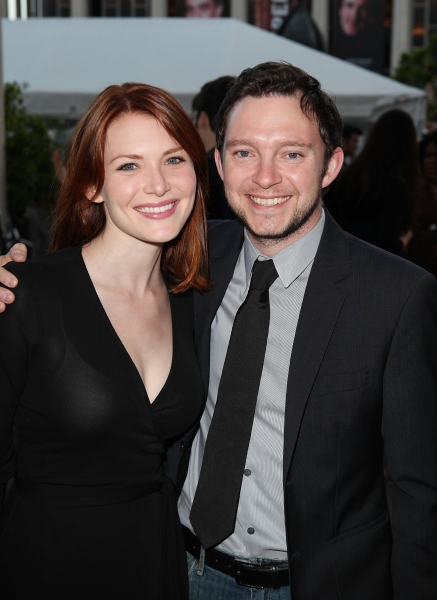 """LOS ANGELES, CA - APRIL 3: Holley Fain (L) and actor Nate Corddry (R) pose during the arrivals for the opening night performance of """"Burn This"""" at Center Theatre Group's Mark Taper Forum on April 3, 2011 in Los Angeles, California. (Photo by Ryan"""