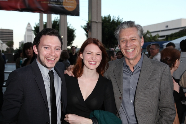 """LOS ANGELES, CA - APRIL 3: (L-R) Nate Corddry, actress Holley Fain and CTG Artistic Director Michael Ritchie pose during the arrivals for the opening night performance of """"Burn This"""" at Center Theatre Group's Mark Taper Forum on April 3, 2011 in Los"""