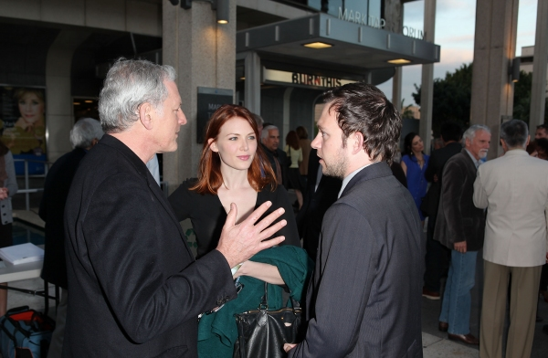 """LOS ANGELES, CA - APRIL 3: (L-R) Actors Victor Garber, Holley Fain and Nate Corddry pose during the arrivals for the opening night performance of """"Burn This"""" at Center Theatre Group's Mark Taper Forum on April 3, 2011 in Los Angeles, California. (Photo by"""